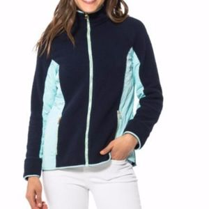 Sail To Sable Sherpa Zip Front Jacket Blue Small S